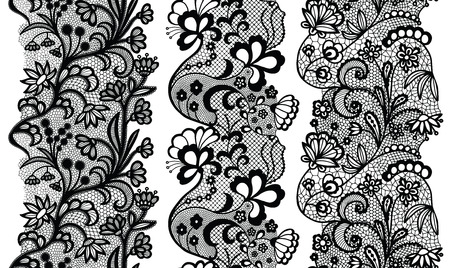 Black lacy vintage elegant trims. Vector illustration.