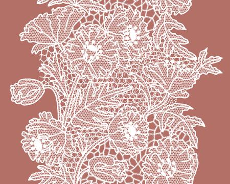 White lacy vintage elegant trim. Lacy vintage trim.  illustration. Banco de Imagens