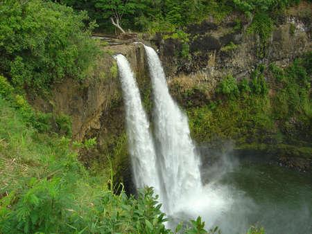 ワイルア滝, カウアイ島、ハワイ 写真素材