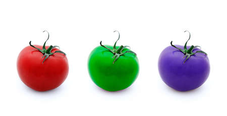 Conceptual illustration of three tomatoes in RGB colours placed in straight line over white background.