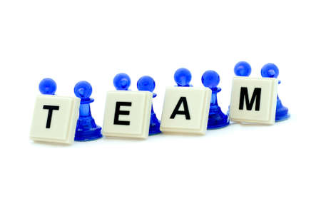 Illustration of a group of people cooperating during team building training.