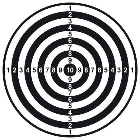 사격: Vector illustration of black and white dartboard. 일러스트