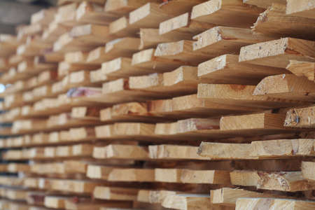 Stack of rough pine boards. Stock Photo