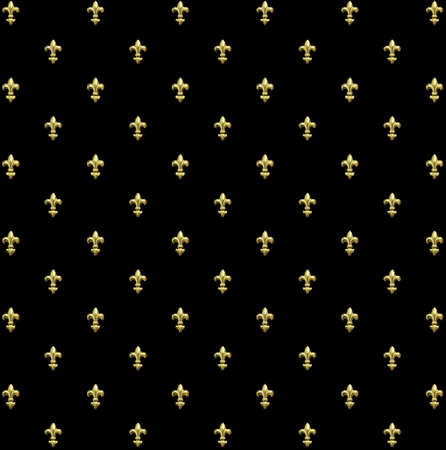 Golden fleur de lis on black background Stock Photo