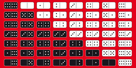 domino effect: 2 sets of domino blocks (black and white). Vector graphic - perfect to use in various designs or 3d modelling.