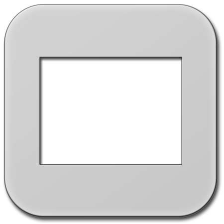 Single blank slide frame isolated over white background. Digitally created graphic. Stock Photo