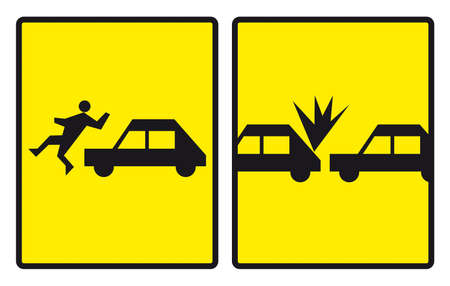 Road signs warning about accidents. Vectorized graphic. Stock Photo