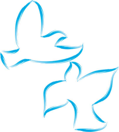 Two doves flying together. Monotone vectorized illustration in blue color. Graphic intended to illustrate togetherness of a young couple. Stock Photo