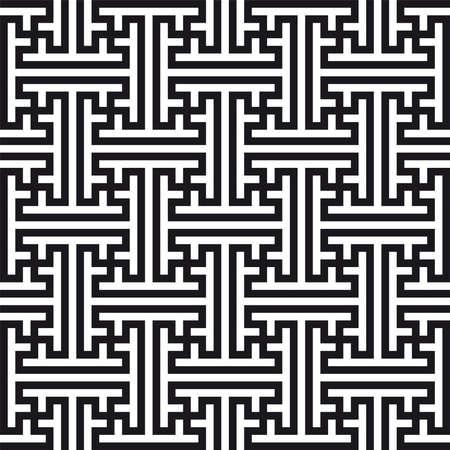 Chinese geometric pattern. Traditional ornament with swastikas (manji symbol). Stock Photo - 3732874