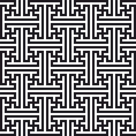 Chinese geometric pattern. Traditional ornament with swastikas (manji symbol).