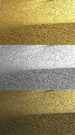 Gold, silver and bronze 3D metal textures. Shiny, wrinkled surface with smooth, delicate tonal transitions and shadows.