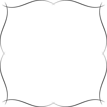 ファンシーフレーム波状デザイン。繊細で微妙な装飾境界線またはフレーム - 単色のグラフィック。