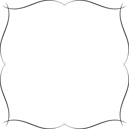 Fancy wavy frame design. Delicate and subtle ornamental border or frame - monochromatic graphic.
