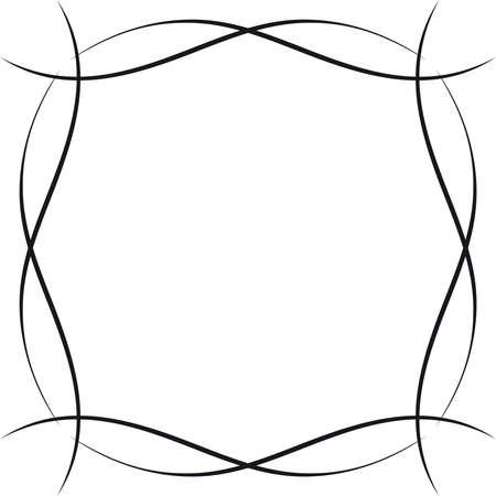 繊細な装飾用フレームや派手なユニークな形 - 単色グラフィックの境界線。