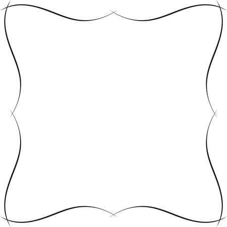 Wavy ornamental frame. Fancy border or frame monochromatic graphic