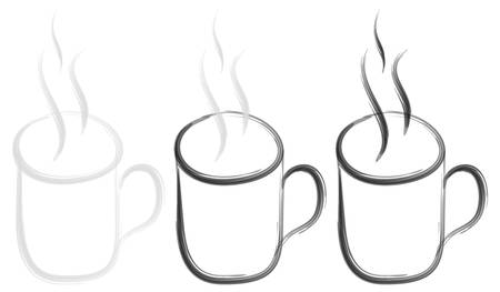 Sketched steaming mug in three tonal versions. Black and white vector graphic or illustration Illustration
