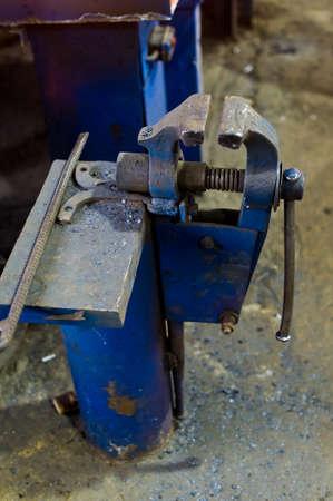 Workers vise blue blacksmith. Archivio Fotografico