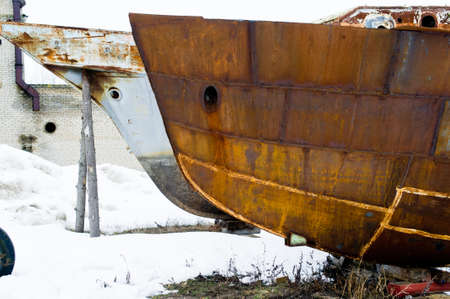 Abandoned rusty ship 免版税图像