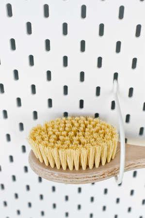 Zero waste bathroom accessories, natural sisal brush. Eco body, showers brush. Copy space. white background
