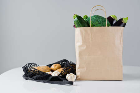 zero waste food shopping. eco natural bags with vegetables, eco friendly. sustainable lifestyle concept. plastic free items. reuse, reduce, recycle, refuse.