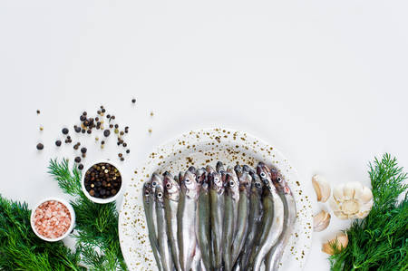Raw Salakas on a plate, dill, pink salt, pepper and garlic. White background, top view, space for text Standard-Bild