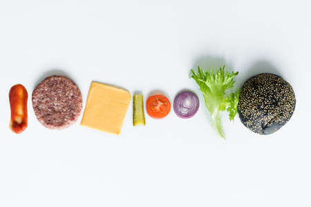 Ingredients for the black Burger over white background Banque d'images - 121254233