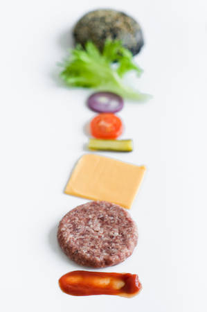 Ingredients for the black Burger over white background Banque d'images - 121254403