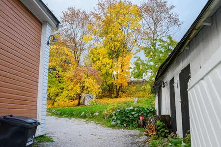 Autumn landscape, yard. Porvoo, Finland