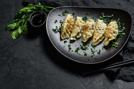 Plate of fried Korean dumplings on rustic black table. Top view. Space for text.