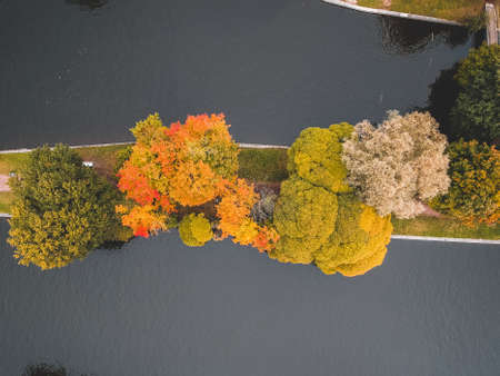 Aerialphoto Islands with yellowing trees