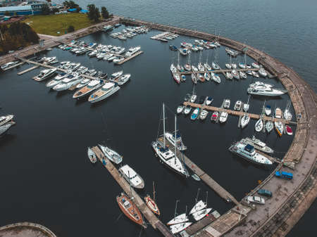 Aerialphoto yacht club with a breakwater. Yachts, motor boats, sailboats, berths, piers Stock Photo