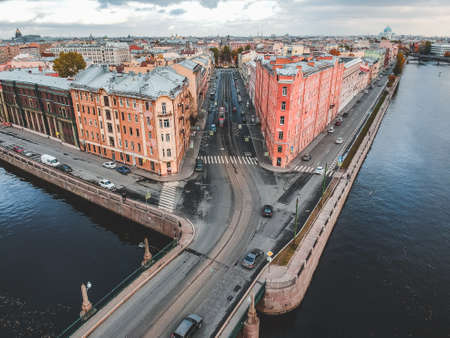 Aerial view of the Fontanka river, the historic center of the city, authentic houses. St. Petersburg, Russia Stock Photo