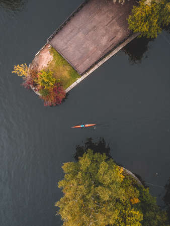 Aerialphoto rower training on the river in a kayak. Stock Photo