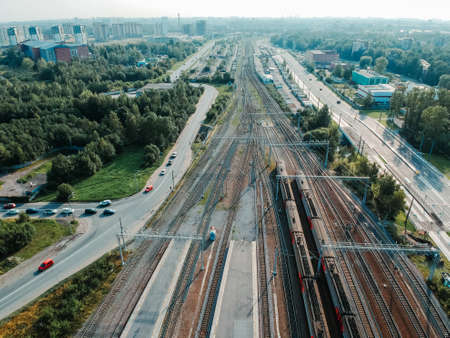 Aerialphoto train depots, rail tracks, interchanges and trains. St. Petersburg, Russia.
