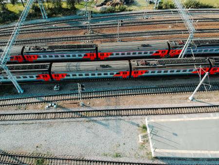 Aerialphoto train depots, rail tracks, interchanges and trains. St. Petersburg, Russia. Flatley. Banque d'images