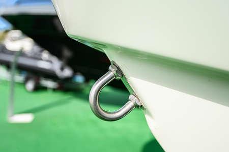 mooring hook of the new yacht. Close up. Tenerife, Canary Islands, Spain. Standard-Bild