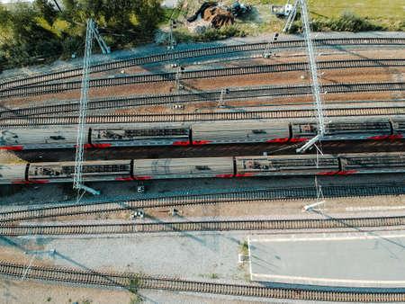 Aerialphoto train depots, rail tracks, interchanges and trains. St. Petersburg, Russia. Flatley.