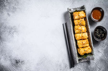 Fried spring rolls with vegetables. Vegetarian food. Stock Photo