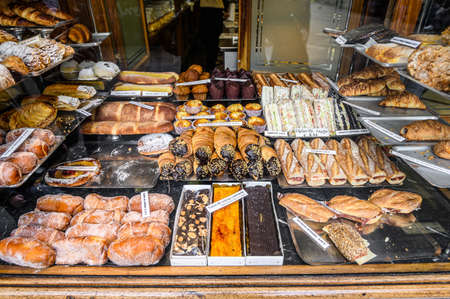 Showcase of a traditional bakery in the old town of barcelona. 03.01.2020 Barcelona, Spain.