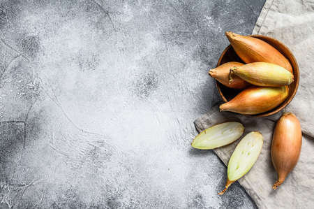 Shallot onions, cut in two halves. Gray background. Top view. Space for text.