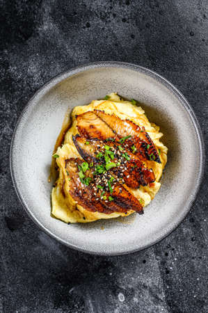 Baked eel with Japanese omelette and rice. Black background. Top view Banque d'images