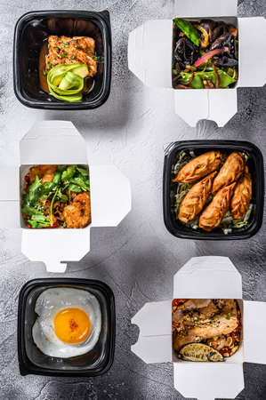 Take away food. Spring rolls, dumplings, gyoza and wok noodles. Healthy lunch. Take and go organic food. White background. Top view. Copy space.