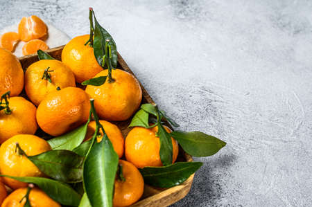 Tangerines (oranges, mandarins, clementines, citrus fruits) with leaves in wooden bowl. Gray background. Top view. Space for text. Stock Photo