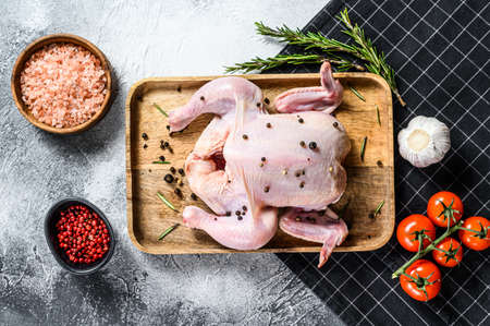 Concept of cooking whole chicken. Ingredients rosemary, pink salt, garlic and cherry tomatoes. Gray background. Top view.