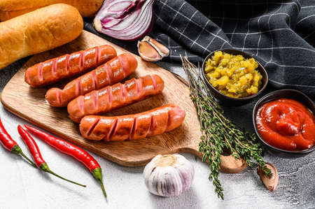 Ingredients for different homemade Hot Dogs, with fried onion, chili, tomatoes, ketchup, cucumbers, and sausage. White background. Top view. Reklamní fotografie