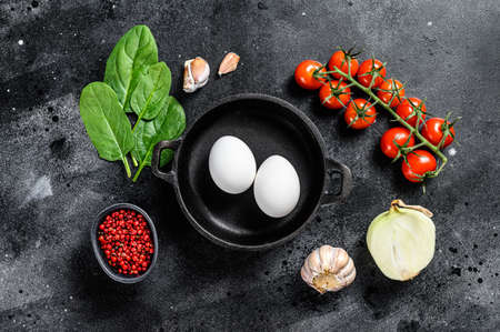 Ingredients for cooking Shakshuka. Eggs, onions, garlic, tomatoes, peppers, spinach. Black background. Top view. Reklamní fotografie