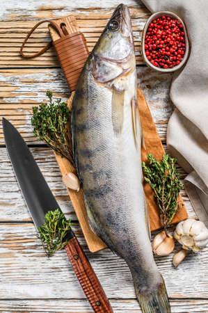 Fresh Zander, walleye with herbs. Raw fish. White background. Top view. Archivio Fotografico
