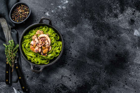 Green spinach fettuccine pasta with cheese and seafood, shrimp, squid, octopus, mussel. Dark background. Top view. Copy space. 免版税图像