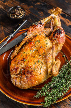Christmas Baked whole farm duck with herbs. Dark wooden background. Top view.
