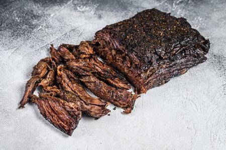 Smoked bbq Beef Brisket meat steak. White background. Top view